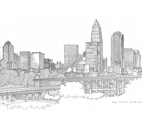 CHARLOTTE NORTH CAROLINA - Skyline, Architecture, Drawing, Pen and Ink, Sketchbook, Art, Drawn There