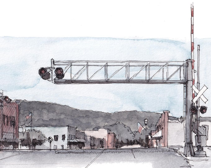RAILROAD CROSSING - Small Town, Rockwood, Tennessee, Main Street, Train Tracks, Plein Air Watercolor Painting, Drawing, Art, Drawn There