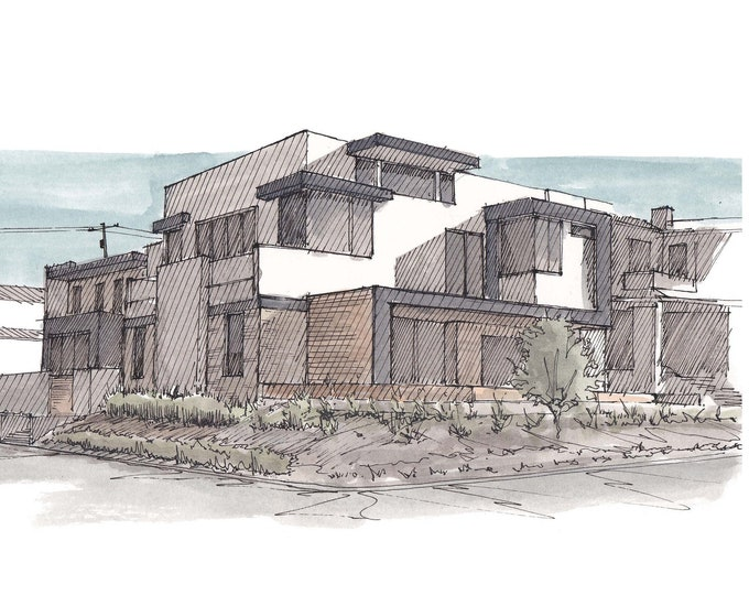 CALIFORNIA MODERN ARCHITECTURE - Newport Beach, Costa Mesa, House, Design, Ink and Watercolor, Drawing, Painting, Sketchbook, Drawn There