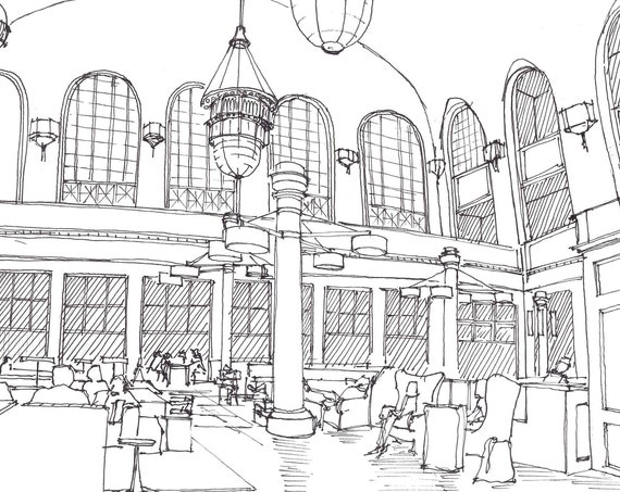 UNION STATION DENVER, Colorado - Interior, Architecture, Train Station, Travel, Drawing, Pen and Ink, Sketchbook, Art, Drawn There