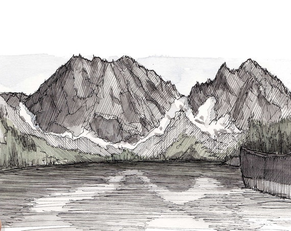 THE ENCHANTMENTS Colchuck Lake - Mountains, Hiking, Outdoor, Landscape, Drawing, Ink, Watercolor, Painting, Sketchbook, Art, Drawn There