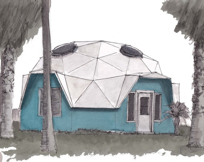 GEODESIC DOME HOUSE - Architecture, Buckminster Fuller, Ink and Watercolor Drawing Painting, Custom House Painting, Drawn There
