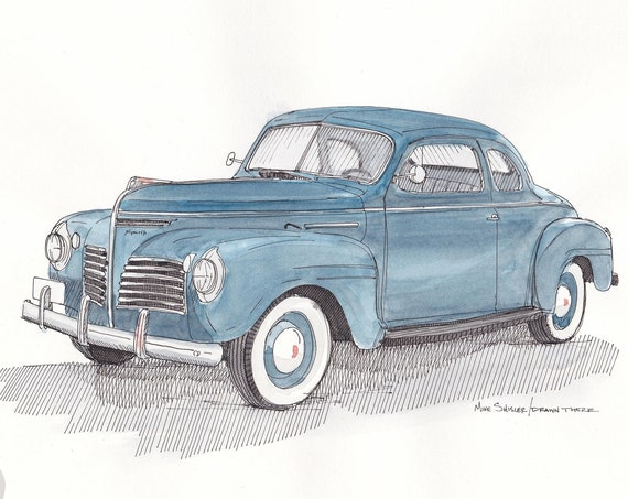 1941 PLYMOUTH CLASSIC CAR - Vintage, Blue, White Wall Tires, Ink Drawing, Watercolor Painting, Sketchbook, Sketch, Art, Drawn There
