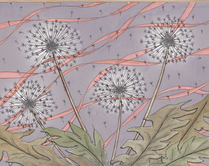 DANDELIONS - Make a Wish, Flowers, Plants, Watercolor Painting, Drawing, Ethereal, Floating, Pink, Purple, Art, Art Print, Drawn There