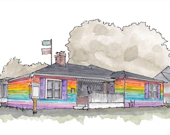 LGBTQ EQUALITY HOUSE - Topeka, Kansas, Rainbow, Gay Pride, Drawing, Watercolor Painting, Urbansketcher Sketchbook, Art, Print, Drawn There