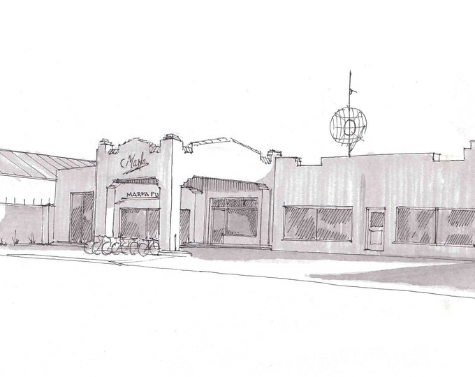 MARFA PUBLIC RADIO - Vintage Architecture, npr, West Texas, Ink Drawing, Sketch, Black and White, Art, Pen and Ink, 5x7, 8x10
