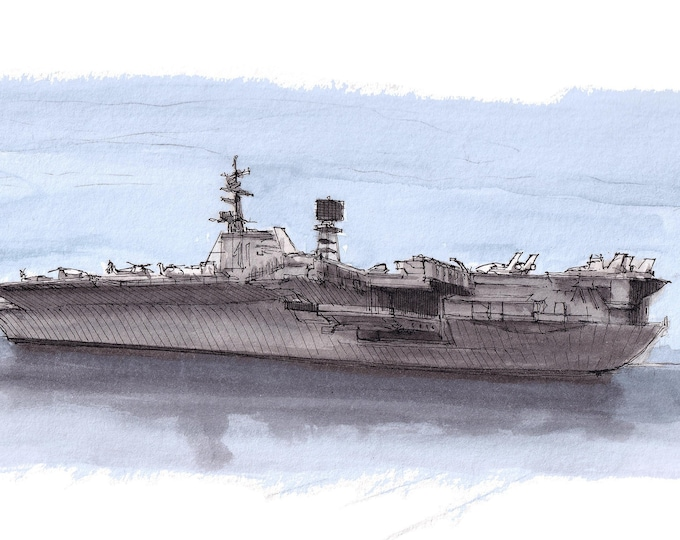 USS MIDWAY WWII - Aircraft Carrier, Navy Ship, Military, San Diego, United States, Ink & Watercolor Painting, Art Print, Drawn There