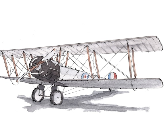 WWI BIPLANE AIRPLANE - 1914, Avro 504, Dogfight, Military, Drawing, Watercolor, Painting, Sketchbook, Art, Print, Drawn There