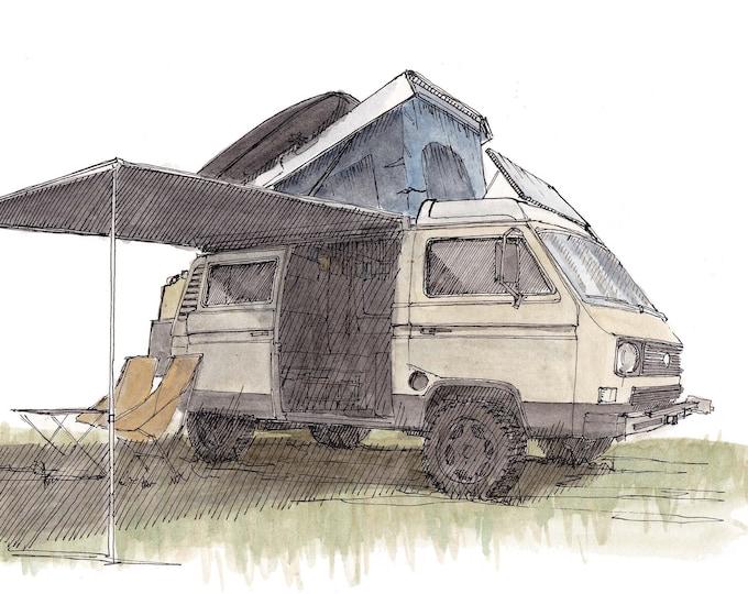 VOLKSWAGEN WESTFALIA VANAGON - Camper, Vanlife, Van, vw, Westy, Drawing, Pen and Ink, Watercolor, Painting, Art, Sketchbook, Drawn There