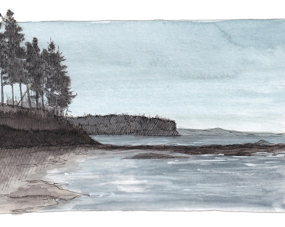 SALT CREEK Tide Pool - Ocean, Rocky Coast, PNW, Pacific North West, Drawing, Plein Air Watercolor Painting, Art, Plein Air, Drawn There