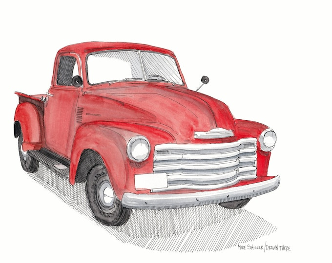 CLASSIC CHEVY PICKUP - Truck, Red, Vintage, Chevrolet, Drawing, Ink, Watercolor Painting, Sketchbook, Sketch, Art, Drawn There