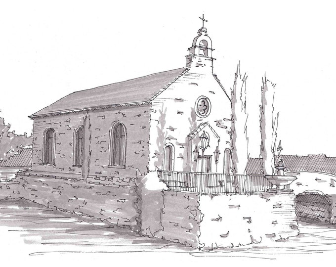 ADRIATICA CHAPEL in McKinney Texas - Church, Wedding, Lake, Architecture, Ink Drawing, Sketch, Art, Pen and Ink, Drawn There