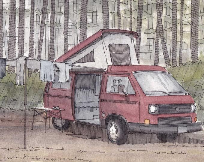 RED WESTFALIA VANAGON - Vanlife, vw, Volkswagen, Campervan, Camping, Roadtrip, Ink & Watercolor Painting, Drawing, Art, Custom, Drawn There