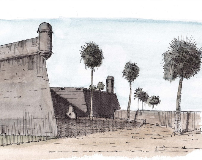 SAINT AUGUSTINE FORT - Castillo de San Marcos, Florida, Plein Air Ink and Watercolor Painting, Drawing, Sketchbook, Art, Drawn There