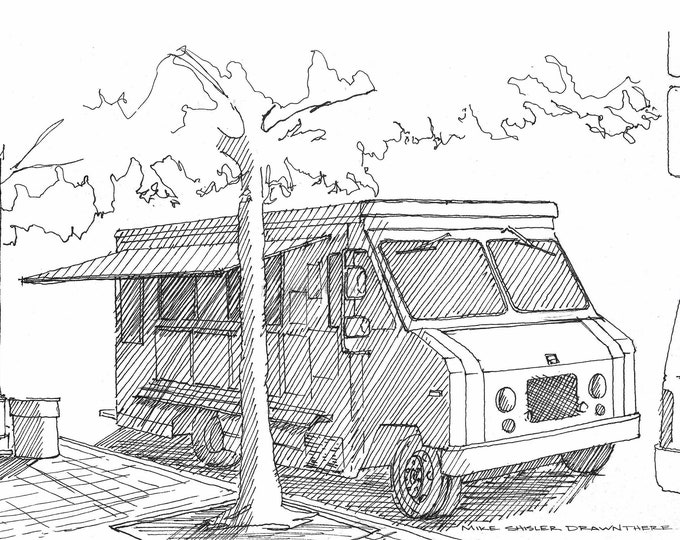 FOOD TRUCK - Street Food, Vendor, Box Truck, Street Tacos, Pen and Ink, Drawing, Sketchbook, Art, Urban Sketcher, Drawn There