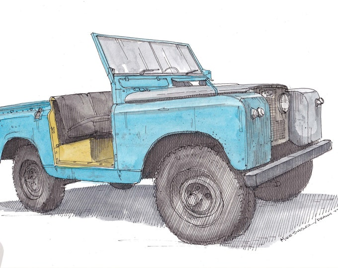 1959 LAND ROVER - Classic Car, Truck, 4x4, Off Road, Vintage, Convertible, Teal, Drawing, Watercolor Painting, Sketchbook, Art, Drawn There