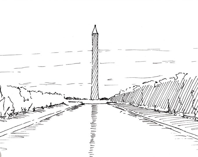 WASHINGTON MONUMENT - Obelisk, Washington DC, Reflection Pool, National Mall, Monuments, Drawing, Pen and Ink, United States, Drawn There