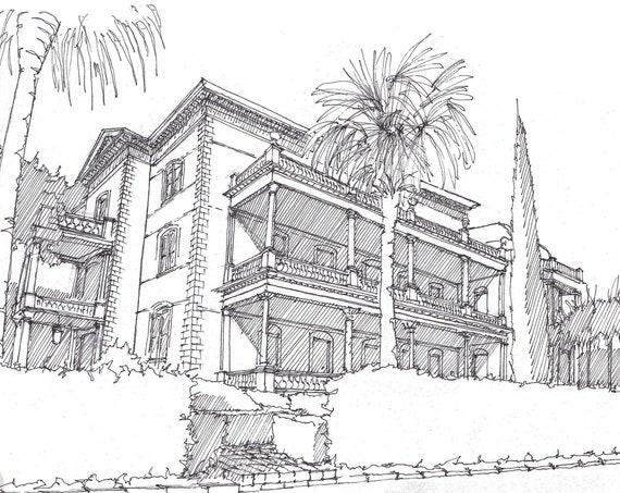 CHARLESTON, CALHOUN MANSION - South Carolina, Pen and Ink, Drawing, Sketchbook, Art, Urbansketcher, Historic, Drawn There