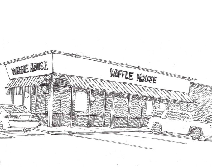 WAFFLE HOUSE in South Carolina - I-95, Breakfast, Restaurant, Architecture, Coffee, Pen and Ink, Drawing, Art Print, Sketch, Drawn There