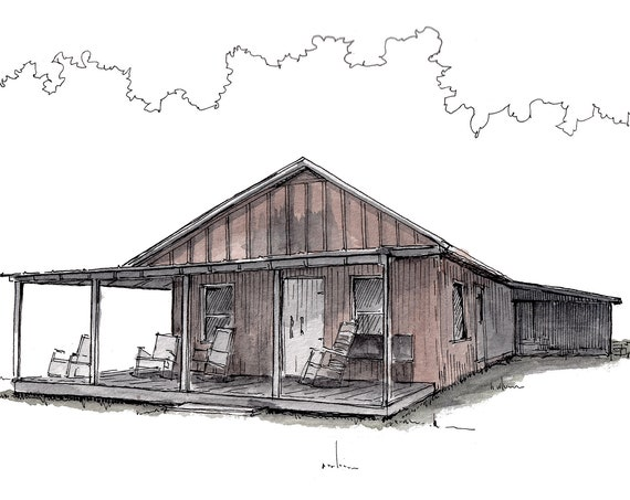 SOUTHERN FRONT PORCH - South Carolina, Rocking Chairs, House, Drawing, Painting, Watercolor, Rural, Sketchbook, Art, Drawn There