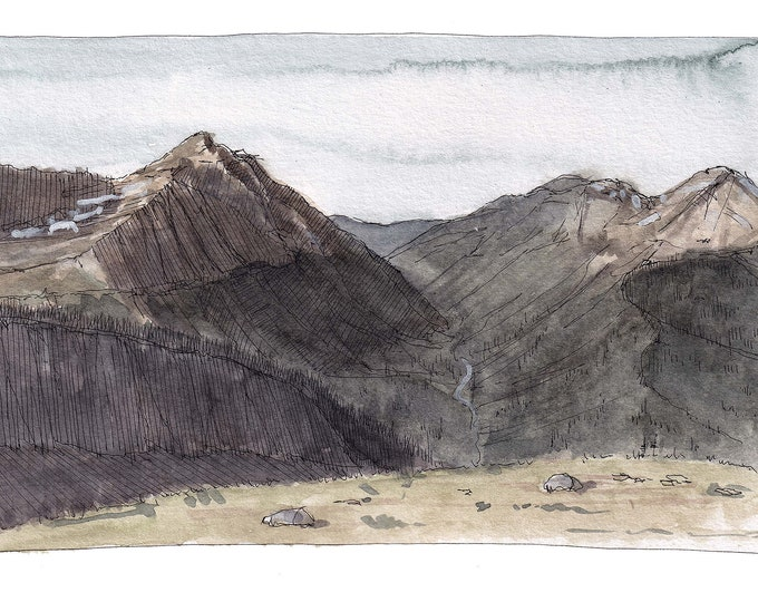 GLACIER NATIONAL PARK - Highline Trail Valley View, Hiking, Ink & Watercolor Landscape Plein Air Painting, Drawing, Art, Drawn There