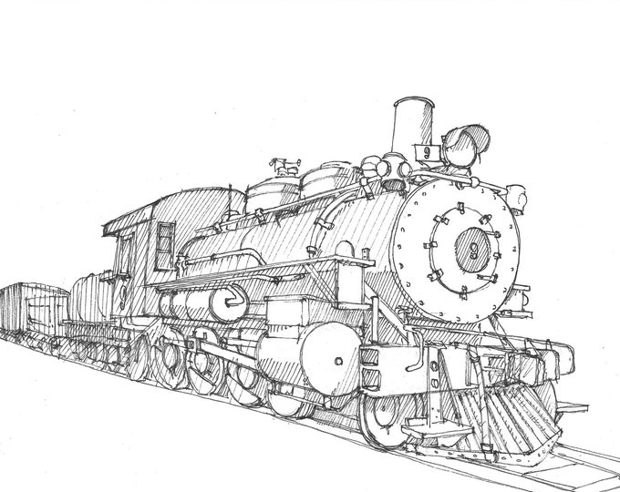 LOCOMOTIVE STEAM ENGINE - Train, Railroad, Travel, Wild West, Art Print, Line Drawing, Art, Pen and Ink, Drawing, Sketchbook, Drawn There