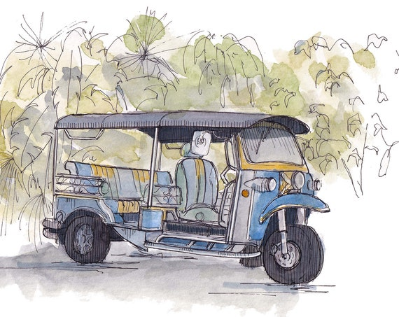 TUK TUK RICKSHAW - Thailand, Taxi, Three Wheel Vehicle, Quirky, Ink and Watercolor Painting, Drawing, Sketchbook, Art, Drawn There