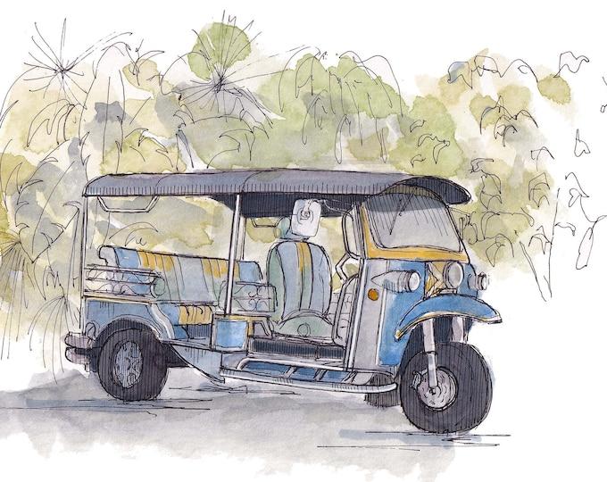TUK TUK RICKSHAW - Thailand, Taxi, Three Wheel Vehicle, Quirky, Ink and Watercolor Painting, Drawing, Sketchbook, Art, Drawn There