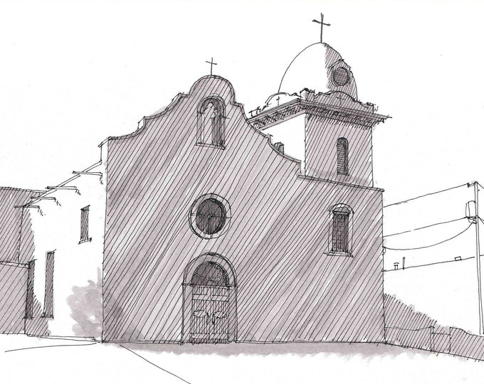 YSLETA MISSION CHURCH in El Paso, Texas - Pen and Ink, Art Prints, Drawing, Architecture, South West, Line Drawing, Drawn There