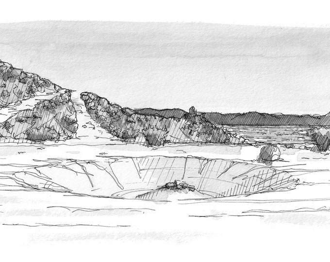 ANZA BORREGO Sand Dune Crater - Off Road, 4x4, Landscape, Side By Side, Sand Rail, Pen and Ink Drawing, Painting, Art Print, Drawn There