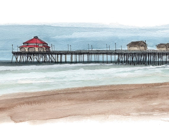 HUNTINGTON BEACH PIER - Southern California, Pacific, Architecture, Landscape, Drawing, Watercolor Painting, Sketchbook, Art, Drawn There