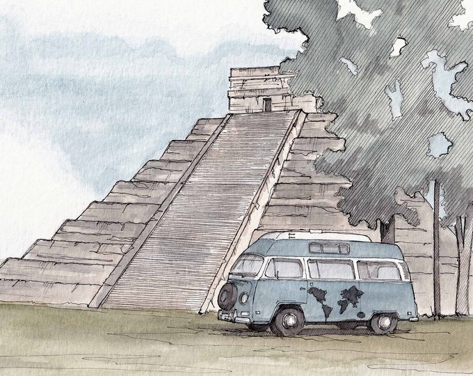 MAYAN TEMPLE VW Van - Temple, Ancient Ruin, Mexico, Cancun, Vanlife, Volkswagen, Drawing, Painting, Ink, Watercolor, Drawn There