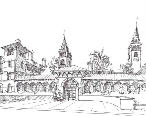 FLAGLER COLLEGE in St. Augustine Florida - Architecture, Pen and Ink, Drawing, Sketchbook, Art, Drawn There