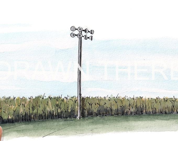 FIELD of DREAMS OUTFIELD - Baseball Field, Iowa, Shoeless Joe, Cornfield, Drawing, Watercolor Painting, Sketchbook, Art, Artist, Drawn There