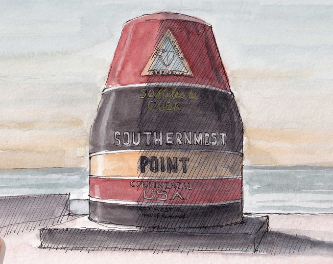 SOUTHERNMOST POINT BUOY - Key West, Florida, Cuba, Tourist Attraction, Drawing, Ink and Watercolor Painting, Sketchbook, Drawn There