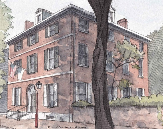 HISTORIC PHILADELPHIA - Hill Physick House, Brick Architecture, Urbansketcher, Ink and Watercolor Painting, Drawing, Art, Drawn There