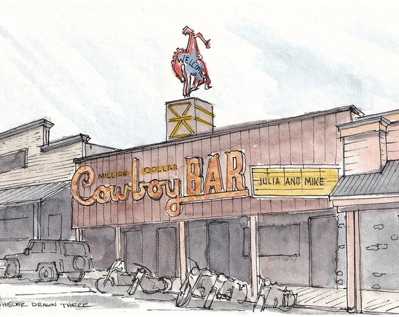 JACKSON WYOMING - Cowboy Bar, Downtown, Wild West, Biker Bar, Art, Ink and Watercolor, Drawing, Painting, Sketchbook, Drawn There