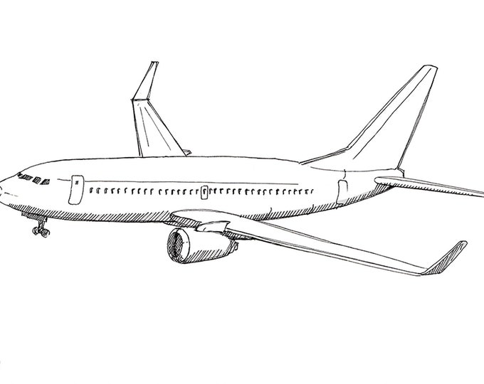 BOEING 737 AIRPLANE - Jet, Commercial Airliner, Fly, Travel, Flight, Ink Drawing, Line Drawing, Art, Print, Black and White, Drawn There