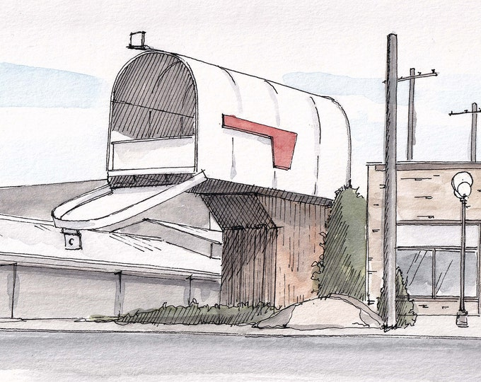 WORLDS LARGEST MAILBOX - Casey, Illinois, Roadside Attraction, Big, Funny, Drawing, Watercolor Painting, Sketchbook, Art, Print, Drawn There