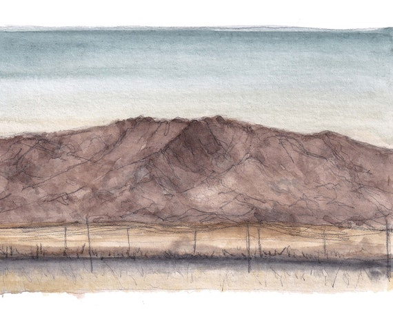 NEW CUYAMA MOUNTAINS - California Sunset, Plein Air Watercolor Landscape Painting, Mountains, Shadow, Art Print, Drawn There