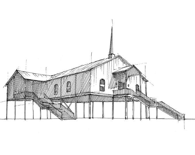 STILT CHURCH - Gulf Coast, Texas, Gulf of Mexico, Architecture, Flooding, Noahs Ark, Ocean, Ink Drawing, Sketchbook, Art, Drawn There