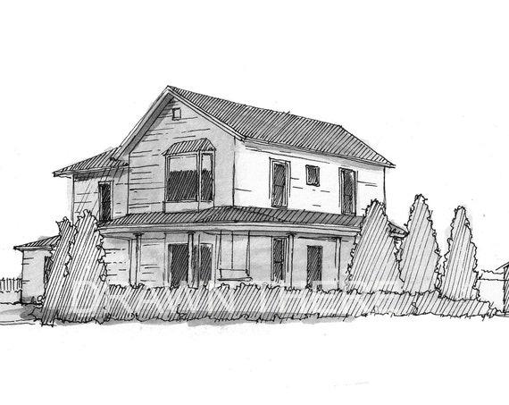 FIELD of DREAMS FARMHOUSE - Baseball Field, Iowa, Shoeless Joe, Architecture, Drawing, Pen and Ink, Sketchbook, Art, Artist, Drawn There