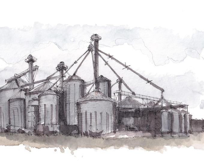 AGRICULTURE GRAIN BINS - Farming, Farm, Farmlife, Engineering, Plein Air, Drawing, Watercolor, Painting, Sketchbook, Art, Print, Drawn There