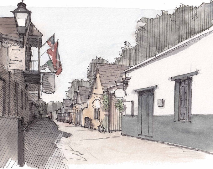 HISTORIC SAINT AUGUSTINE - Florida, Saint George Street, Urbansketcher, Plein Air Ink and Watercolor Painting, Drawing, Art, Drawn There