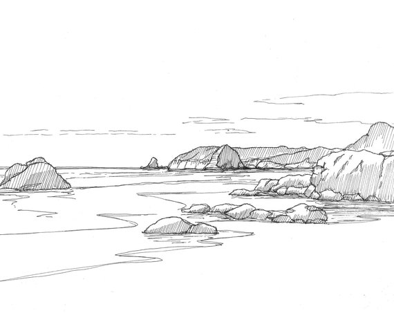 OREGON ROCKY BEACH - Cannon Beach, Ecola State Park, Ocean, Pacific Northwest, Pen and Ink, Drawing, Sketch, Art Print, Drawn There