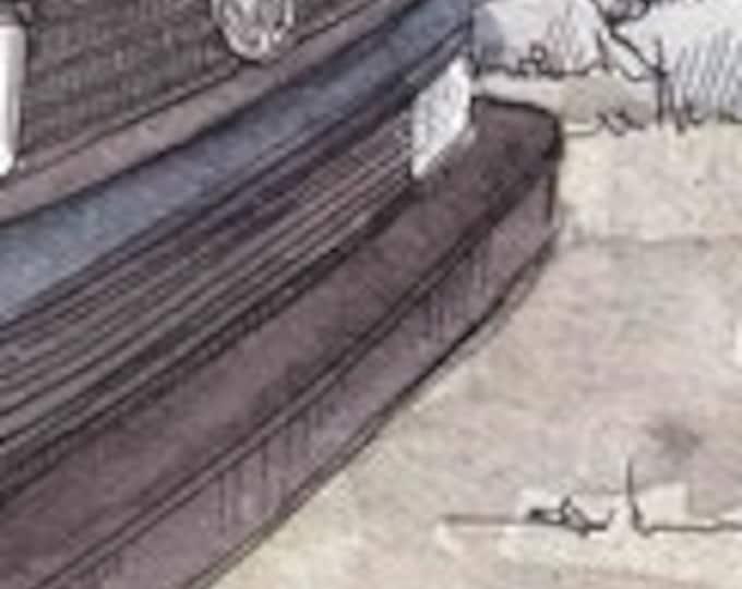 BLUE WESTFALIA VANAGON - Vanlife, vw, Volkswagen, Campervan, Camping, Roadtrip, Ink & Watercolor Painting, Drawing, Art, Custom, Drawn There