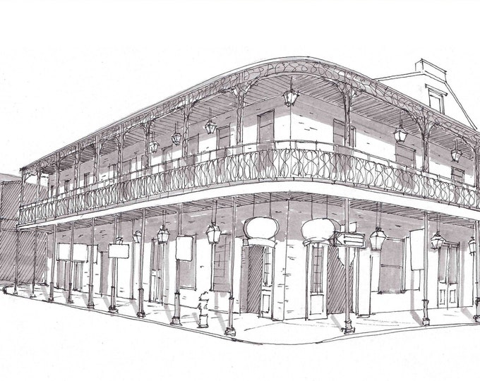 BOURBON STREET New Orleans, French Quarter - Balcony, Iron Railing, Architecture, Pen and Ink, Drawing, Sketchbook, Art, Drawn There