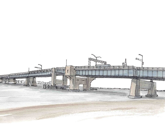 TOWNSEND INLET BRIDGE - Sea Isle City, Avalon, New Jersey, Shore, Beach, Engineering, Ocean, Drawing, Painting, Watercolor, Drawn There