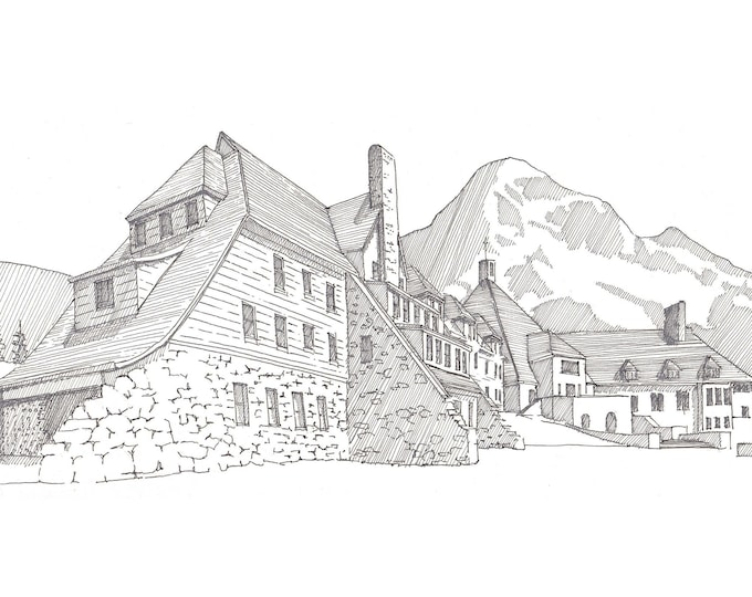 TIMBERLINE LODGE - Pen and Ink, Art, Drawing, Painting, Hotel, Ski Resort, Mount Hood, Skiing, Oregon, Architecture, Drawn There