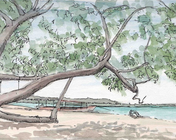 TROPICAL SHADY BEACH - Tree, Shade, Beach, Sand, Ocean, Drawing, Painting, Pen and Ink, Watercolor, Sketchbook, Art Print, Drawn There
